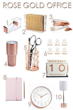 10 Simple & Chic Rose Gold Office Decor Accessories is part of White Home Accessories Gold Office - Check out these ten beautiful Rose Gold Office accessories to create the simple and chic girl boss office of your dreams Rose Gold Lamp, Rose Gold Room Decor, Rose Gold Rooms, Gold Bedroom Decor, White Office Decor, Black Decor, Grey Office, Small Office, Office Wear