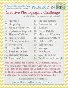 {{My personal challenge for the upcoming weeks.}} Florabella Collection (Photoshop Actions & more) is hosting Project a creative photography challenge. No timeline, no pressure, no failure. More info at www. Photography Challenge, Photography Lessons, Photography Projects, Photography Business, Photography Tutorials, Photography Photos, Creative Photography, Inspiring Photography, Photography Courses