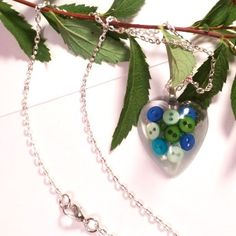 Teeny tiny buttons in resin, handmade jewelry, heart necklaces  #jewelry #handmade #handmadejewelry #heartnecklaces