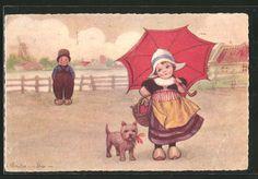 Künstler-AK E.Colombo: holländisches Mädchen in Tracht mit Hund u. Schirm…