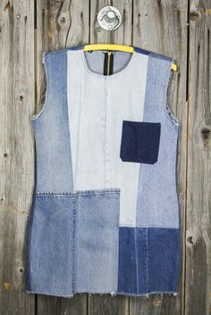 "This amazing patchwork denim dress was created by one of our new favorite brands, American Vintage. Carla, owner + designer, creates original ""vintage inspired"" clothing and accessories using recycled"