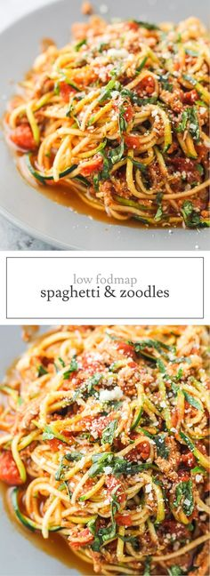 A yummy, low carb and lightened up version of the Italian classic, this Low FODMAP Spaghetti and Zoodles recipe is great for an easy, weeknight meal! | funwithoutfodmaps.com | #lowfodmap #lowcarbpasta #zoodles #whole30