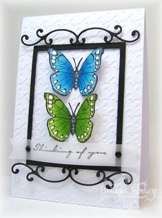 FS328 Wrought Iron Framed Butterflies by bfinlay - Cards and Paper Crafts at Splitcoaststampers