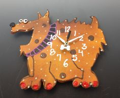 New to PondScumCeramics on Etsy: Kids ClockPuppy Clock Modern Clock for ChildrenBaby Nursery DecorAnimal Clock Fun Clock for Kids (48.00 USD)