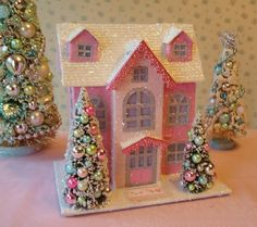 Shabby Pink Putz House w/ Bottle Brush Trees and Aqua, LIGHTED!