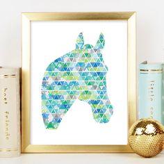A personal favorite from my Etsy shop https://www.etsy.com/au/listing/266460667/blue-horse-head-print-geometric-print