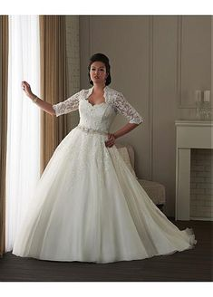 Alluring Organza 1950's styled wedding dress.  Knock out plus sized bride.