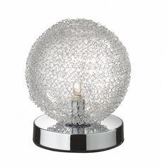 Lampada da tavolo Cotton Montatura in metallo cromato.  Diffusori con bolle di vetro soffiato avvolte da filamento in alluminio.