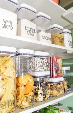 We've got these containers and it saves so much space since they are stackable. I'm loving this whole pantry and I'm definetely going to order those labels! So cute!
