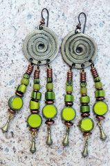 Exotic Lime Green Glass, Copper and Brass Swirl Dangle Earrings | XO Gallery