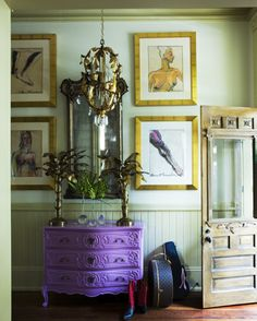 purple distressed furniture | Surrounded by elegant gold accents, an exquisite purple chest serves ...