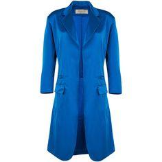 Nina Ricci Duchess Satin Coat ($2,690) ❤ liked on Polyvore featuring outerwear, coats, nina ricci coat, blue coat and nina ricci