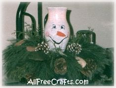 Paint a snowman on a hurricane glass to make a lighted snowman centerpiece for Christmas.