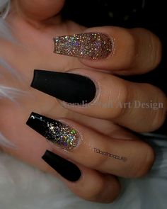 coffin nails - yellow acrylic nails - - - Black with Glitternailsvibez By . nailinspiration nailitdaily nailswag nailaddict qualitynails nailworld theglitternail nailonfleek nailprodigy nailshape getn Source by spicelandjohnsie idea 2019 Black Acrylic Nails, Summer Acrylic Nails, Best Acrylic Nails, Acrylic Nail Art, Black Nails With Gold, Black Coffin Nails, Gold Glitter Nails, Black Acrylics, Black Stiletto Nails