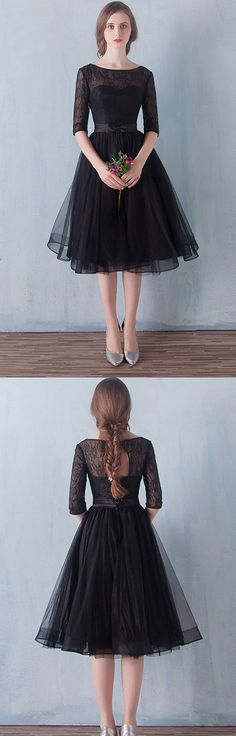 Short Prom Dresses Black, Lace Homecoming Dresses A-line, Scoop Neck Party Dresses Tulle, Knee-length Cocktail Dresses 1/2 Sleeve