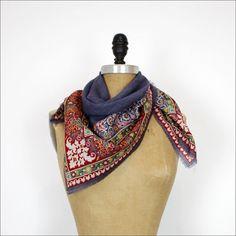 4115183e69d4 gray wool paisley scarf   folk russian babushka scarf