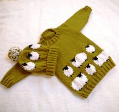 Sheep Child's Sweater and Hat Aran Knitting by iKnitDesigns, £2.99
