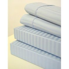 """Queen Size Pillowcases 600 Thread Count Egyptian Cotton Pair - Stripe Baby Blue by Luxury Egyptian Cotton. $24.99. Machine washable. Perfect match for our sheet sets. 100% Egyptian Cotton. 600 Thread Count Sateen. 2- Queen Pillowcases 20"""" x 30"""". 100% Egyptian cotton, Sateen Weave. * 600 Thread count * Sateen Stripe * 4"""" Hemming * Queen Pair: 2 pillow cases 20"""" x 30"""" each. Save 58% Off!"""