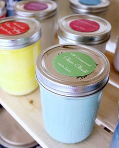 Organizing: Giddy for Garage Organization Storing leftover paint in a Mason Jar! Keeps it from going bad AND saves space! Paint Storage, Diy Garage Storage, Garage Organization, Organization Ideas, Organized Garage, Storage Ideas, Workshop Organization, Shop Storage, Storage Hacks