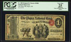 National Bank Notes:Ohio, Piqua, OH 1 dollar Original Fr. 380 The Piqua NB Ch. # 1006.