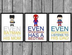 Wow thats kinda messed up. Superhero wall art/Boys bedroom decor/Set of Prints by on Etsy Big Boy Bedrooms, Boys Bedroom Decor, Bedroom Ideas, Kids Boy, Baby Kids, Superhero Wall Art, Superhero Signs, Superhero Pictures, Kids Decor