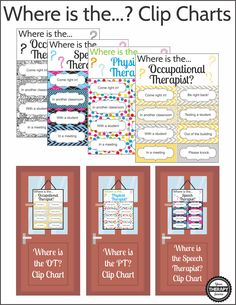 Where is the OT, PT or Speech Therapist Clip Chart includes 5 digital signs to indicate where you might be in the school building.