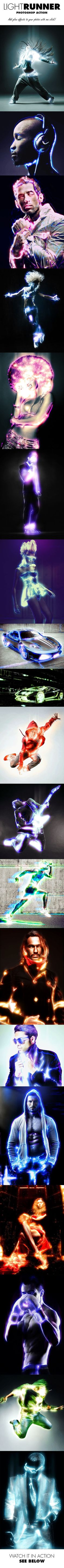Light Runner Photoshop Action from GraphicRiver.  Gives really cool glow effects and neon lighting to photos!! (Cool Easy Ideas)