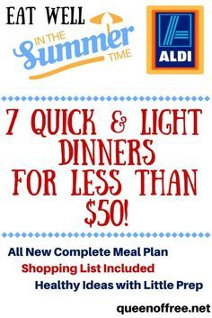Healthy Meals Easy, healthy ALDI meal plan to feed a family of four 7 dinners for less than 50 dollars! - Easy, healthy ALDI meal plan to feed a family of four 7 dinners for less than 50 dollars! Family Meal Planning, Budget Meal Planning, Summer Meal Planning, Cooking On A Budget, Healthy Family Meal Plans, Cheap Healthy Family Meals, Cheap Healthy Meal Plan, Frugal Meals, Budget Meals