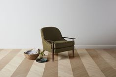 The Leroy Chair  Shown here in Olive Performance Chevron with Walnut Finish.