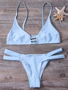 Cut Out Cami Bandage Bikini Set - LIGHT BLUE S Mobile