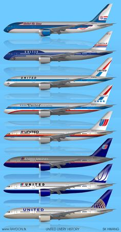 United historical liveries through the years, a 787 art essay. Mi esquema favorito de fuselaje de United es el 5to de arriba hacia abajo, de niño recuerdo montarme en unos asi.