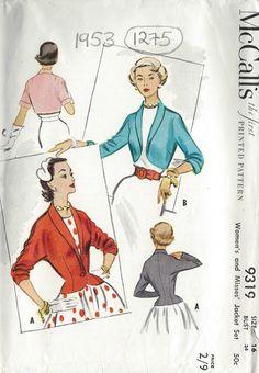 1953 Vintage Sewing Pattern B34 JACKET (1275) | eBay