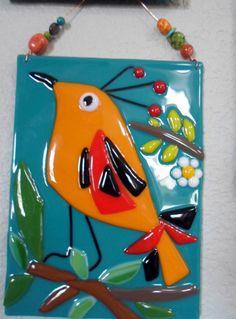 Fused Glass Orange Teal Bird Flower Plaque Whimsical by jodysart, $29.99
