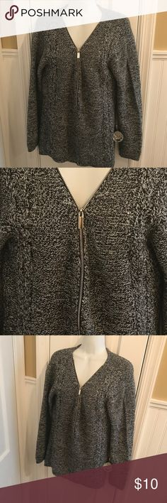 """Marled zipper sweater About 29"""" long in the back New York & Company Sweaters V-Necks"""