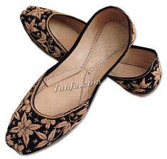 Ladies Khussa- Black | Pakistani Indian Khussa Shoes