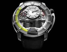 Hyt's H1 is the first timepiece ever to combine liquid and mechanical engineering. Bellows visible behind the crystal move up and down with the internal mechanics and move the fluorescent liquid on its face