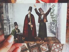 A postcard depicting Mevlevi dervishes in the hands of artist Tasnim Baghdadi