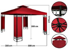 Patio Metal Gazebo Pavilion 3 x 3m Garden Shelter Red Canopy Party Wedding Tent  #Unbranded
