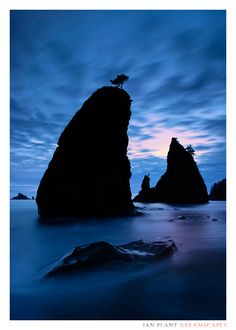 Split Rocks at twilight, Rialto Beach, Olympic National Park, Washington