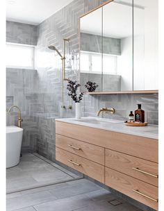 A Contemporary Update For This California Bungalow In Sydney Wood Bathroom, Bathroom Renos, Modern Bathroom, Family Bathroom, Bathroom Inspo, Bathroom Renovations, Bathroom Inspiration, Small Bathroom, Bathroom Ideas