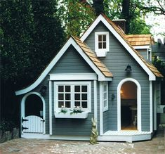 English Cottage Playhouse - More info here www. - English Cottage Playhouse – More info here www. Small Cottage Designs, Small Cottage House Plans, Small Cottage Homes, Small Cottages, Small House Plans, Tiny Home Floor Plans, Micro House Plans, Cozy Cottage, Backyard Playhouse