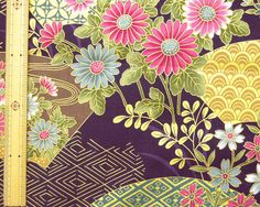 Japanese kimono cotton fabric flower printed by HanamiBoutique, $7.00