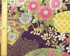 Japanese kimono cotton fabric flower printed by HanamiBoutique, $7.00