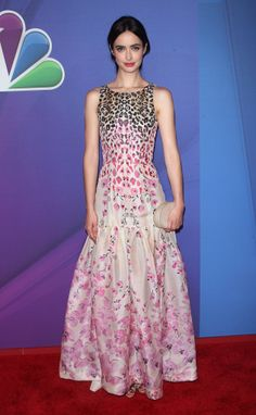 Krysten Ritter in a Temperley London dress and  Lauren Merkin clutch at the NBC Upfront Presentation.