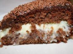 Receita de Bolo Prestígio - bolo ao meio , no sentido horizontal, e umedeça as duas metades com o leite restante. Sobre uma das partes do bolo coloque o recheio já frio,...