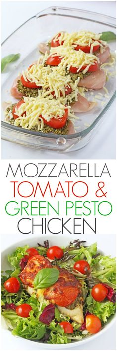 A delicious and easy mid week meal. Just 3 minutes prep and 30 minutes in the oven to make this Mozzarella, Tomato & Basil Pesto Chicken   My Fussy Eater blog