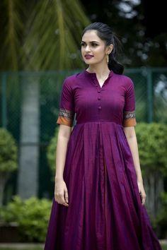 Narayanpet Purple Saree Gown Maxi with Zari Border Kaftan Designs, Lehenga Designs, Kurti Neck Designs, Dress Neck Designs, Kurti Designs Party Wear, Churidhar Neck Designs, Frock Fashion, Indian Fashion Dresses, Dress Indian Style