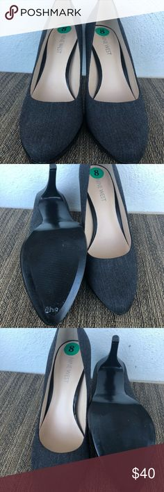 NEW! Gray Nine West Pumps. Never worn outside. The perfect everyday pump from Nine West. Slightly rounded toe with beautiful fabric detail. Slight blemish on the right heel (shown in pictures). ONLY WORN AROUND THE HOUSE! Deep discount because of the scratch on the heel. Nine West Shoes Heels
