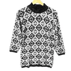Vintage 80s Sparkle Nordic Snowflake Ugly Ski Sweater