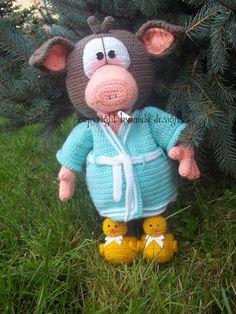 Häkelanleitungen - Schweinehund im Kimono, eBook, xxl Amigurumi - ein Designerstück von Mala-Designs bei DaWanda